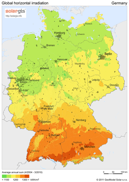 solar radiation map of germany germany mappery. Black Bedroom Furniture Sets. Home Design Ideas