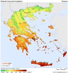 Solar Radiation Map of Greece