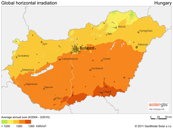 Solar radiation map of hungary hungary mappery fullsize solar radiation map of hungary gumiabroncs