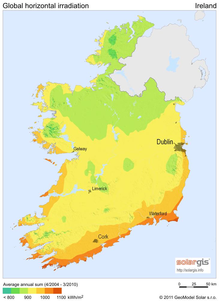 Solar Radiation Map Of Ireland Ireland Mappery