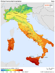 Solar Radiation Map of Italy