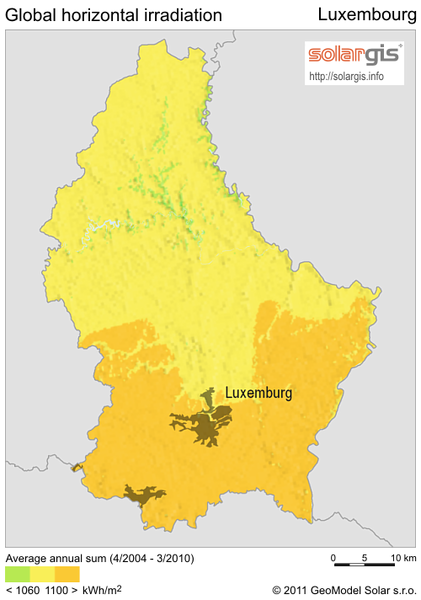 Solar Radiation Map of Luxembourg - Luxembourg • mappery