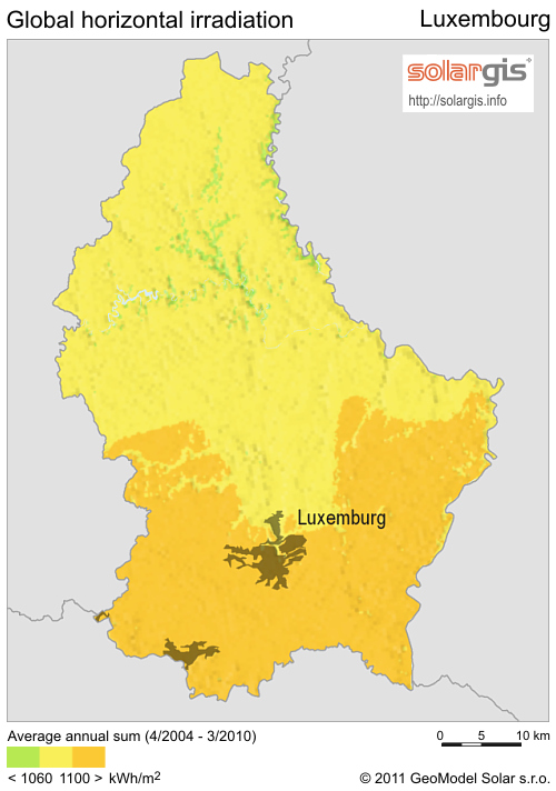 Solar Radiation Map of Luxembourg Luxembourg mappery