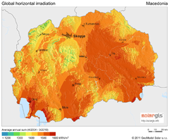 Solar Radiation Map of Macedonia