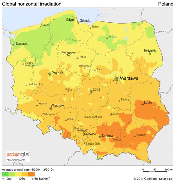 Polen Temperaturkarte