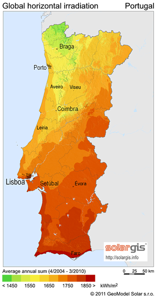 Solar Radiation Map Of Portugal Portugal Mappery - Portugal map
