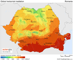 Solar Radiation Map of Romania