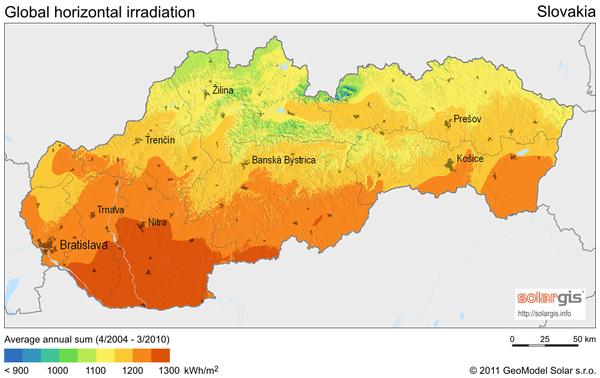 Solar Radiation Map of Slovakia Slovakia mappery