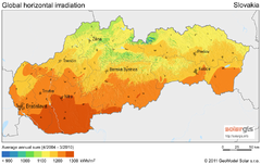 Solar Radiation Map of Slovakia