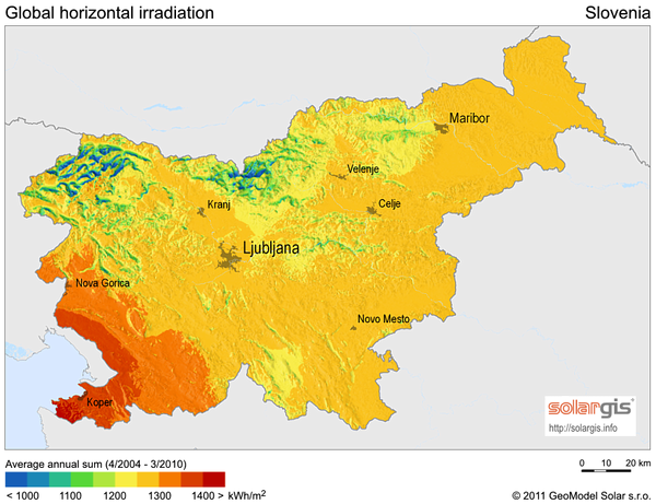 Solar Radiation Map of Slovenia Slovenia mappery