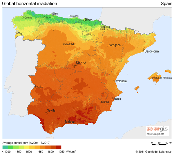 Solar radiation map of spain