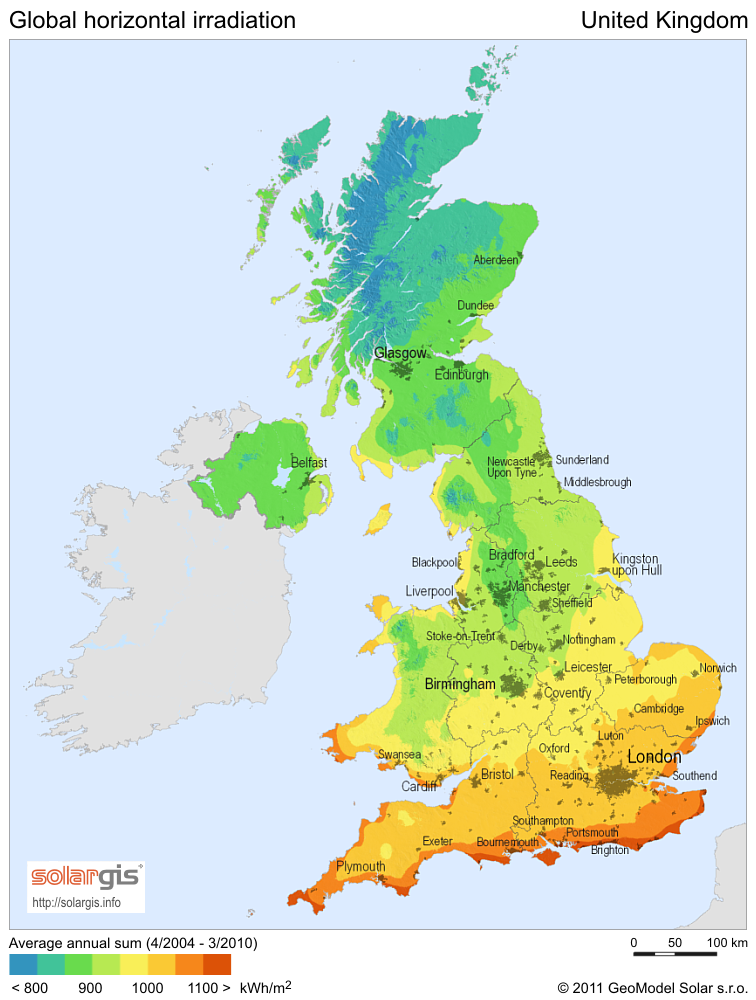 Solar Radiation Map Of United Kingdom Mappery