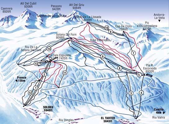 Soldeu Andorra  city images : Soldeu Andorra Piste Ski Map Soldeu Andorra • mappery