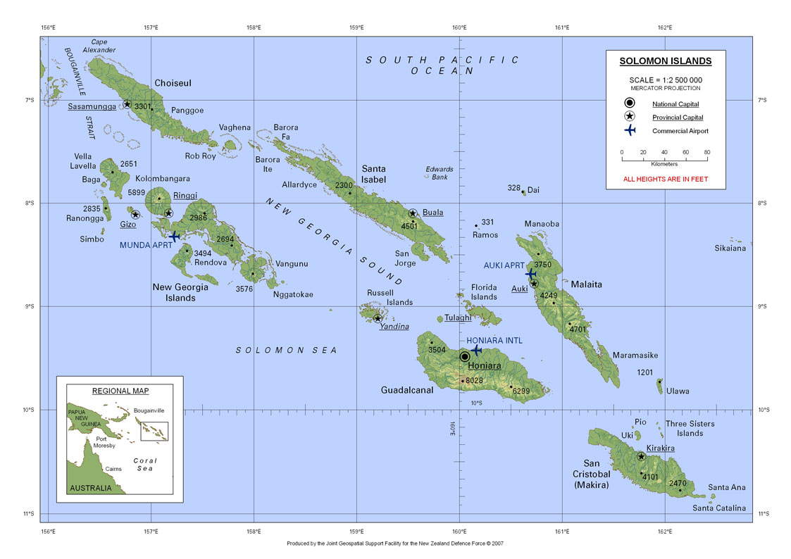 Soloman Islands Map Soloman Islands Mappery - Islands map