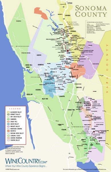 Sonoma Country Wine Map
