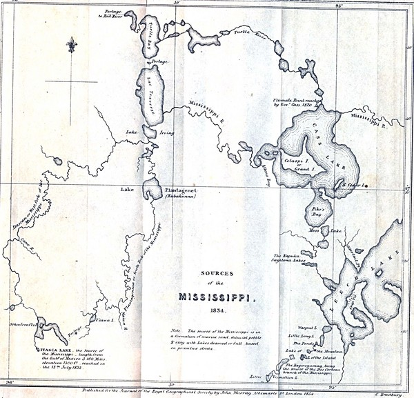 Sources of Mississippi River - 1834 Historical Map - United ...