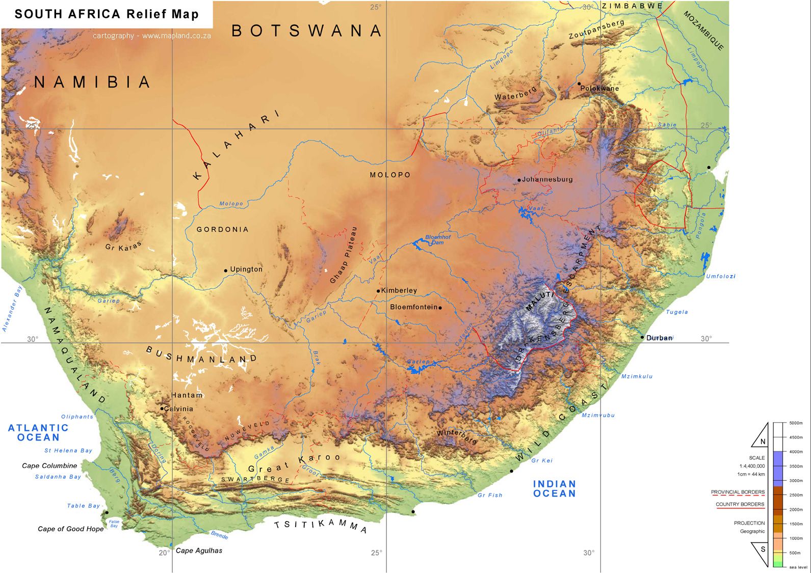 South Africa Physical Map South Africa mappery