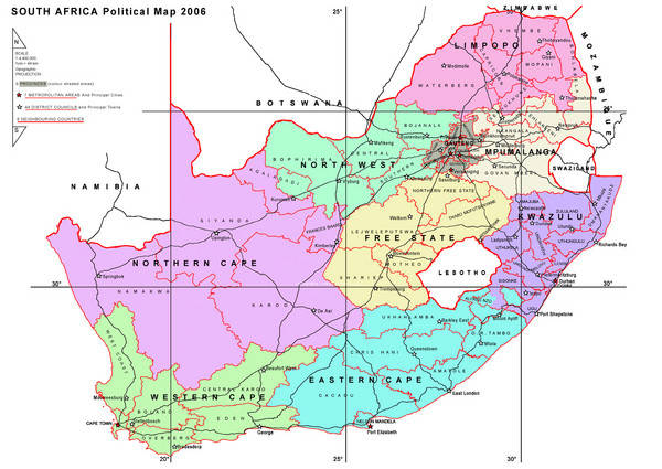 South Africa Political Map South Africa Mappery