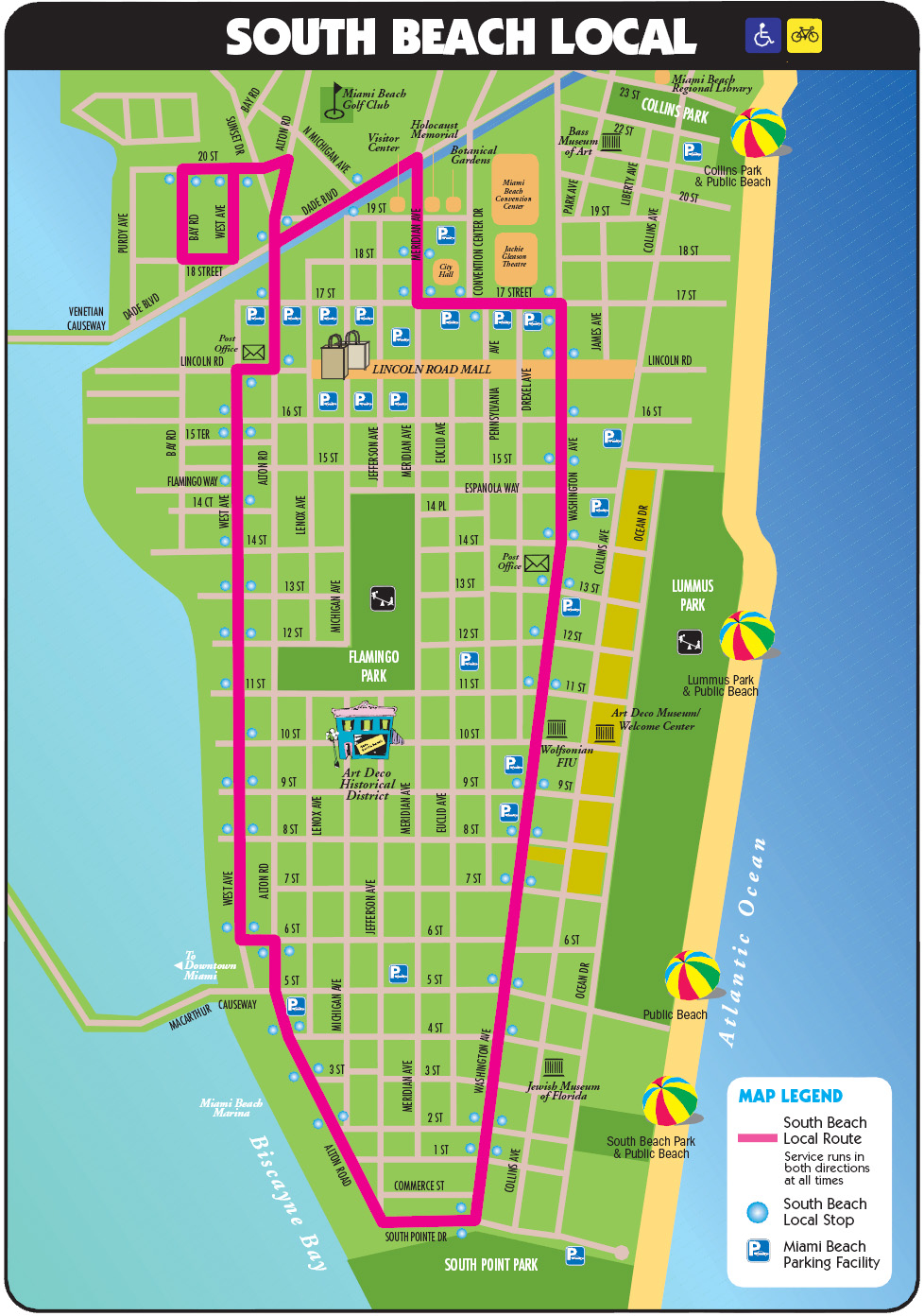 . south beach tourist map  miami beach florida • mappery