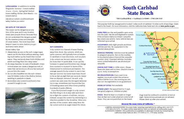 South Carlsbad State Beach Campground Map
