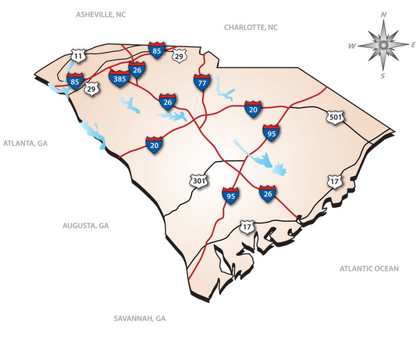 sc interstates map image collections