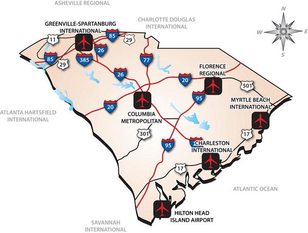 South Carolinas Airports Map   South Carolina • mappery