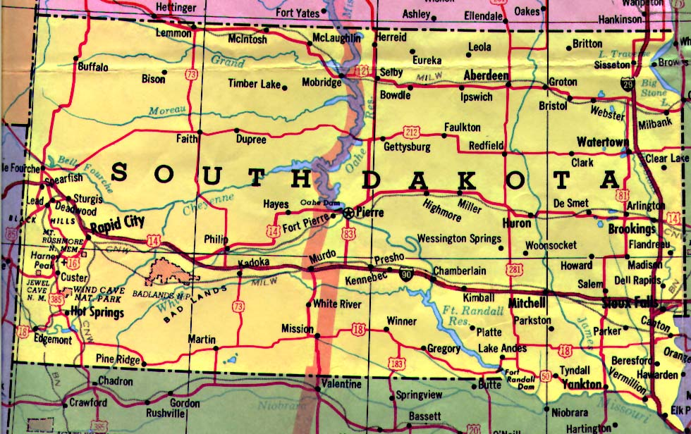 South Dakota Map South Dakota Mappery - Map of sd