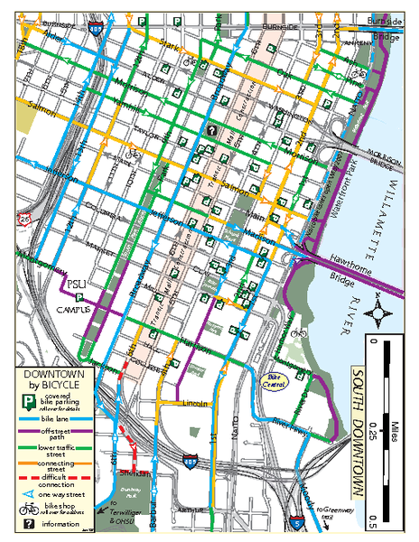 South Downtown Portland Bike Map - Portland OR • mappery on