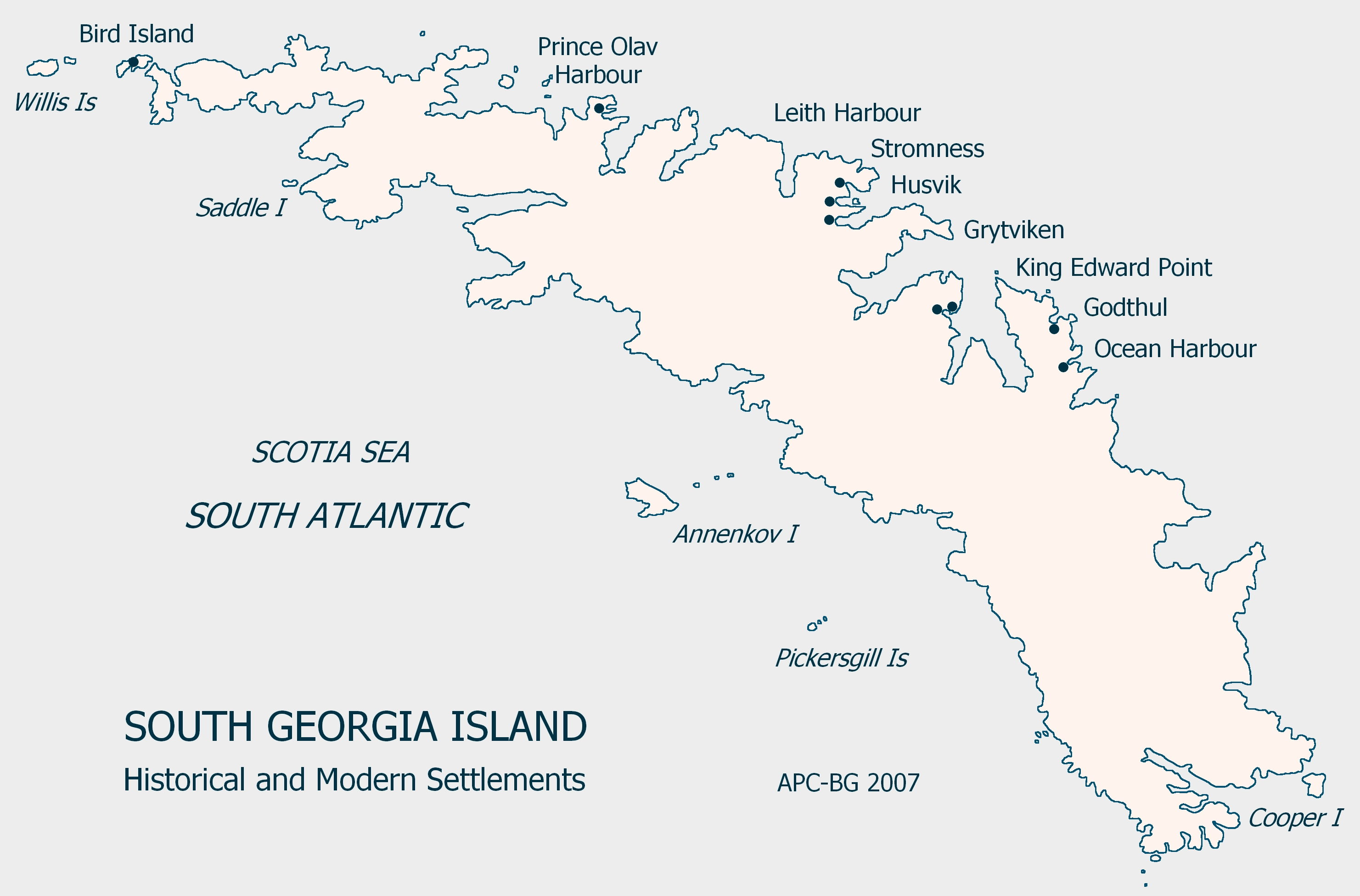 South Georgia Island Settlement Map - South Georgia and South ...