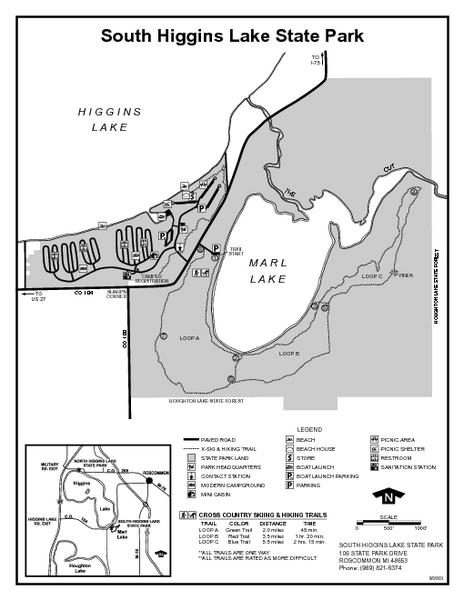 South Higgins Lake State Park, Michigan Site Map