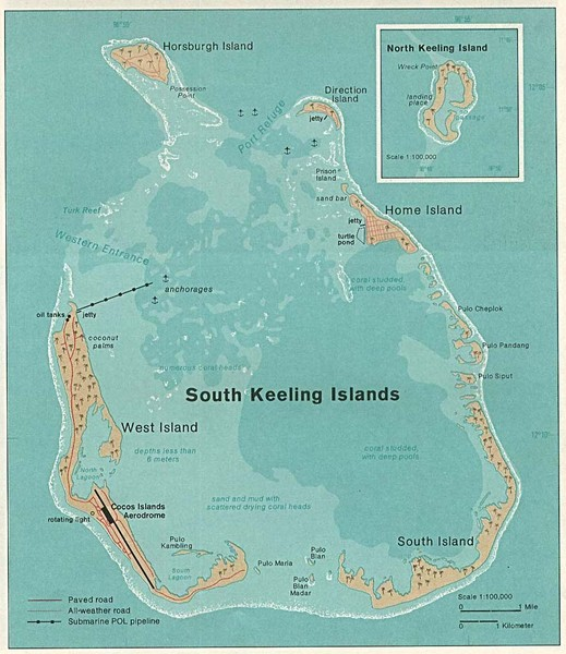 South Keeling (Cocos) Island Tourist Map