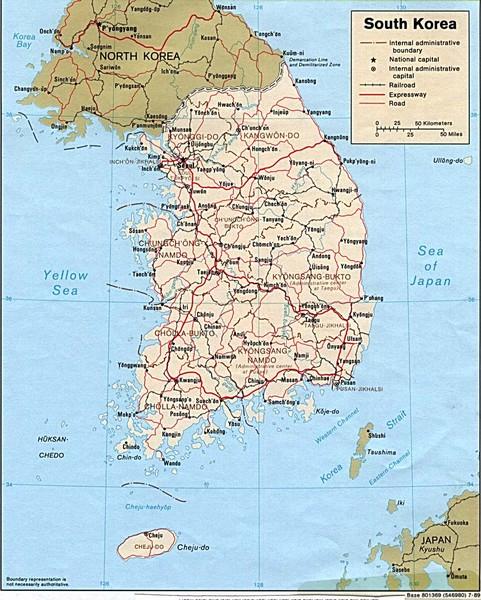 South Korea Tourist map South Korea mappery