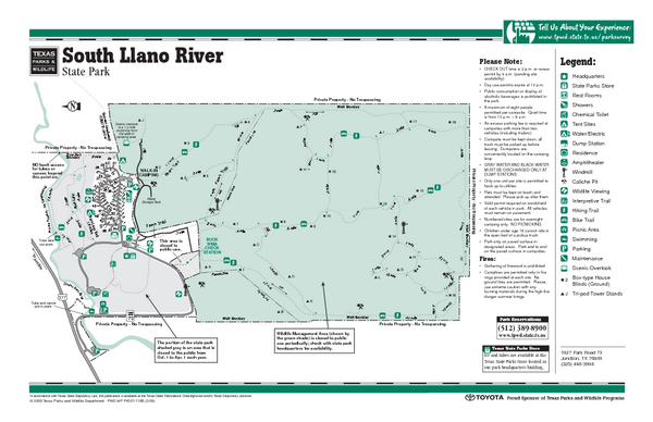 South Llano, Texas State Park Facility and Trail Map