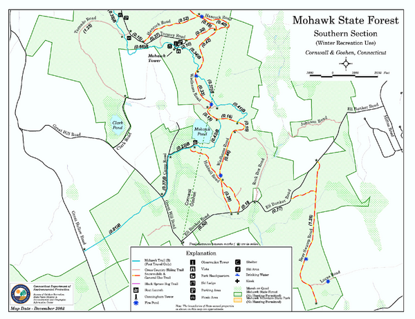 South Mohawk Mountain State Forest (Winter Trails) Map
