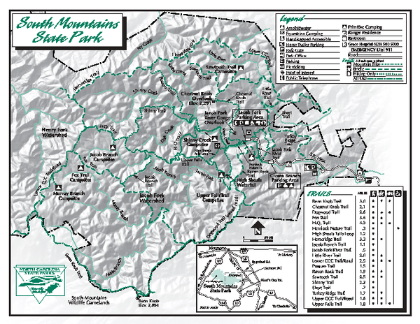 South Mountains State Park map Connelly Springs NC 28612 mappery