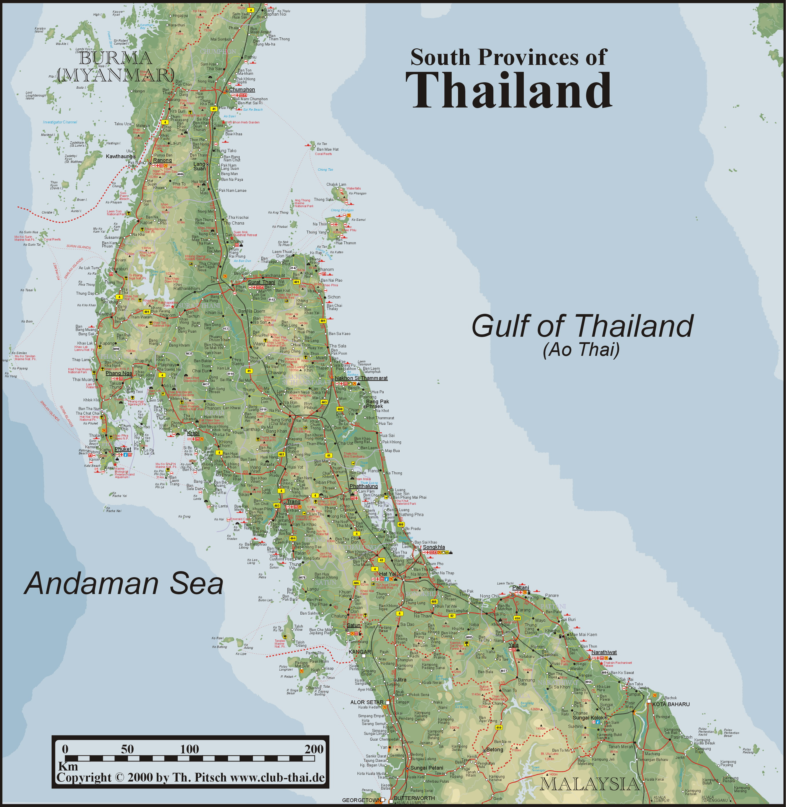 South Thailand Map - Surat Thani TH • mappery