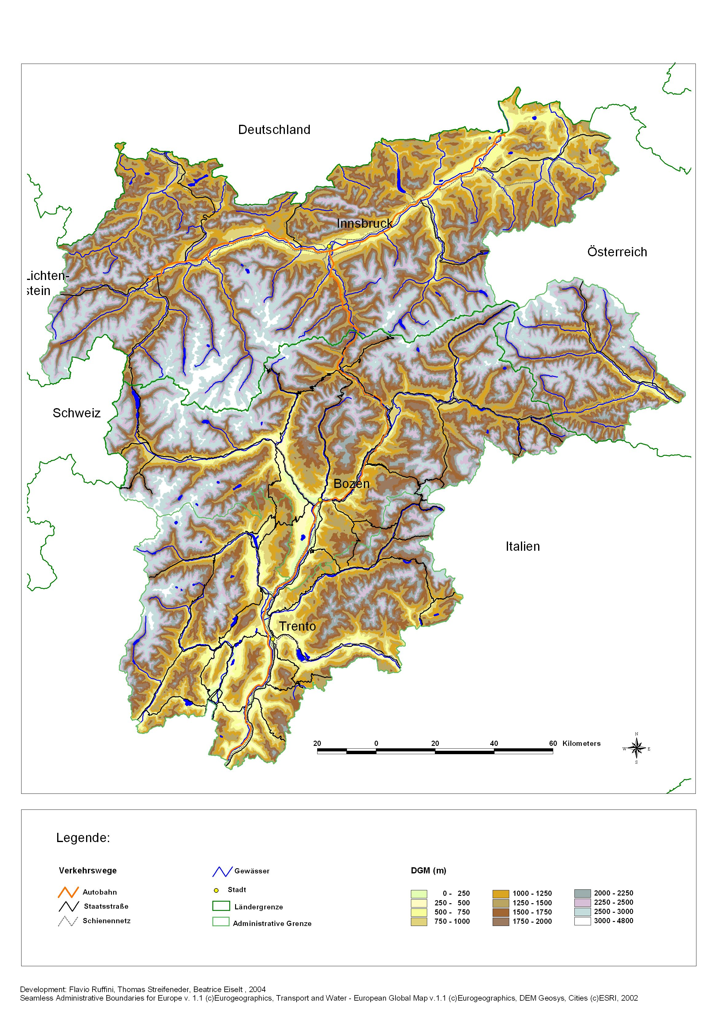 Map Of South Italy.South Tyrol Elevation Map Valdurna Italy Mappery