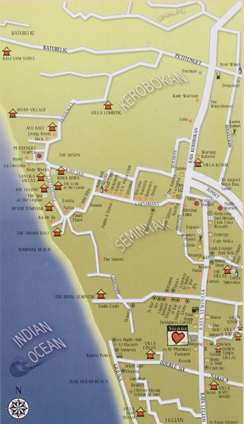 South West Bali Tourist Map
