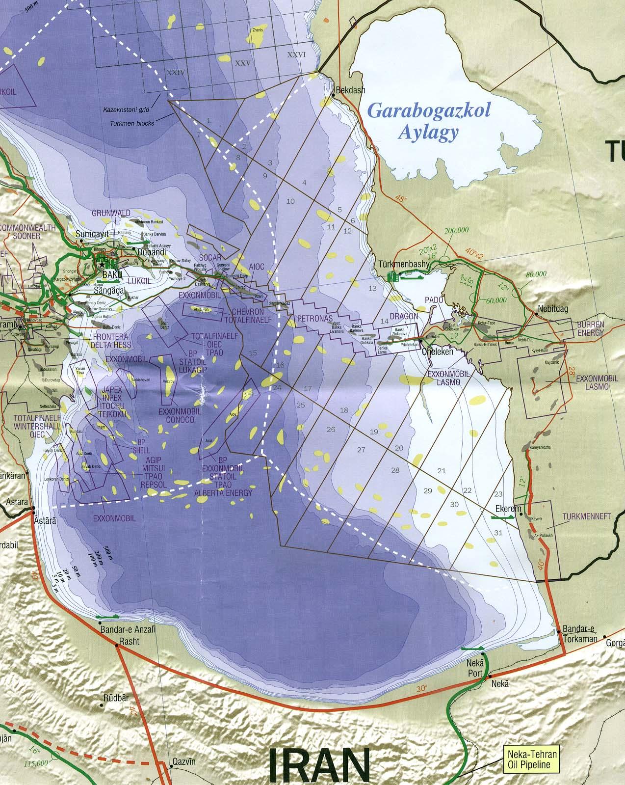 Southen Caspian Sea Oil Claims Map - Caspian Sea • mappery