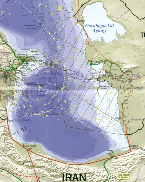 Southen Caspian Sea Oil Claims Map - Caspian Sea • mappery