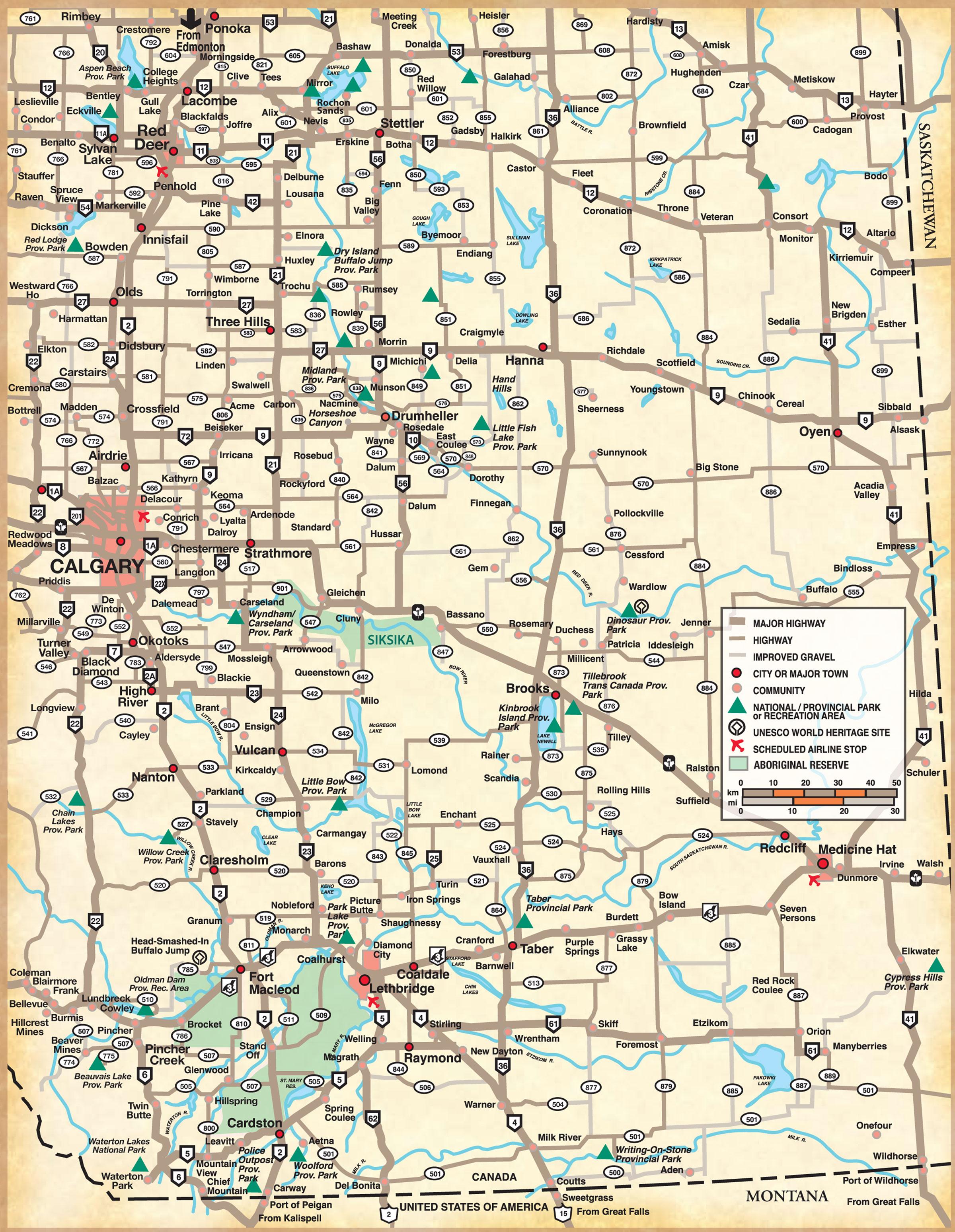 Southern Alberta Map - Countess Canada • mappery