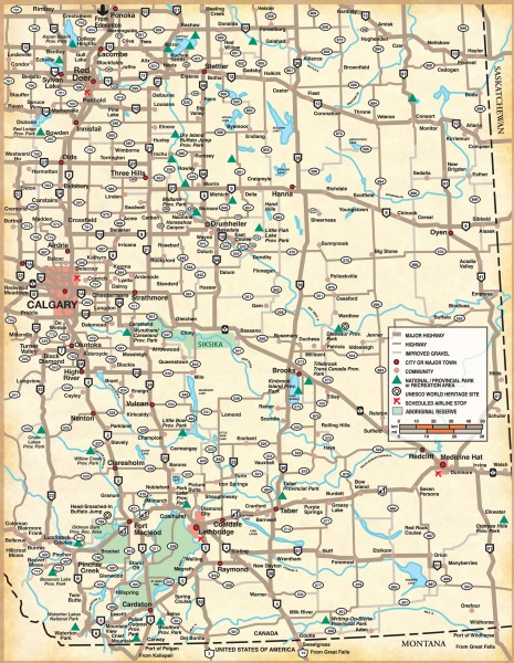 Map Of Southern Alberta Canada Southern Alberta Map   Countess Canada • mappery