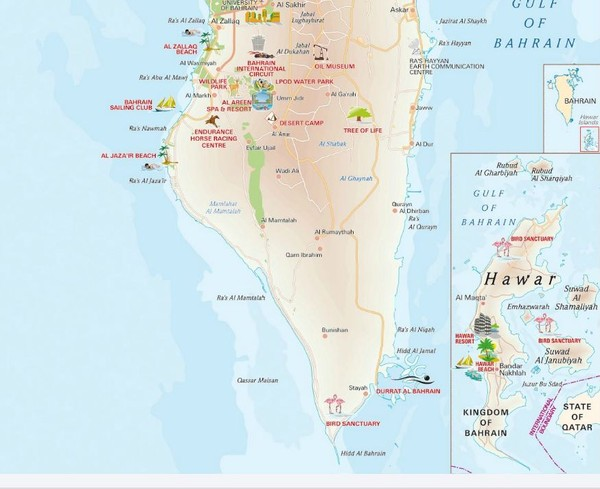Southern Bahrain tourist Map