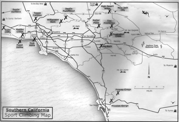 Southern California Sport Climbing Map
