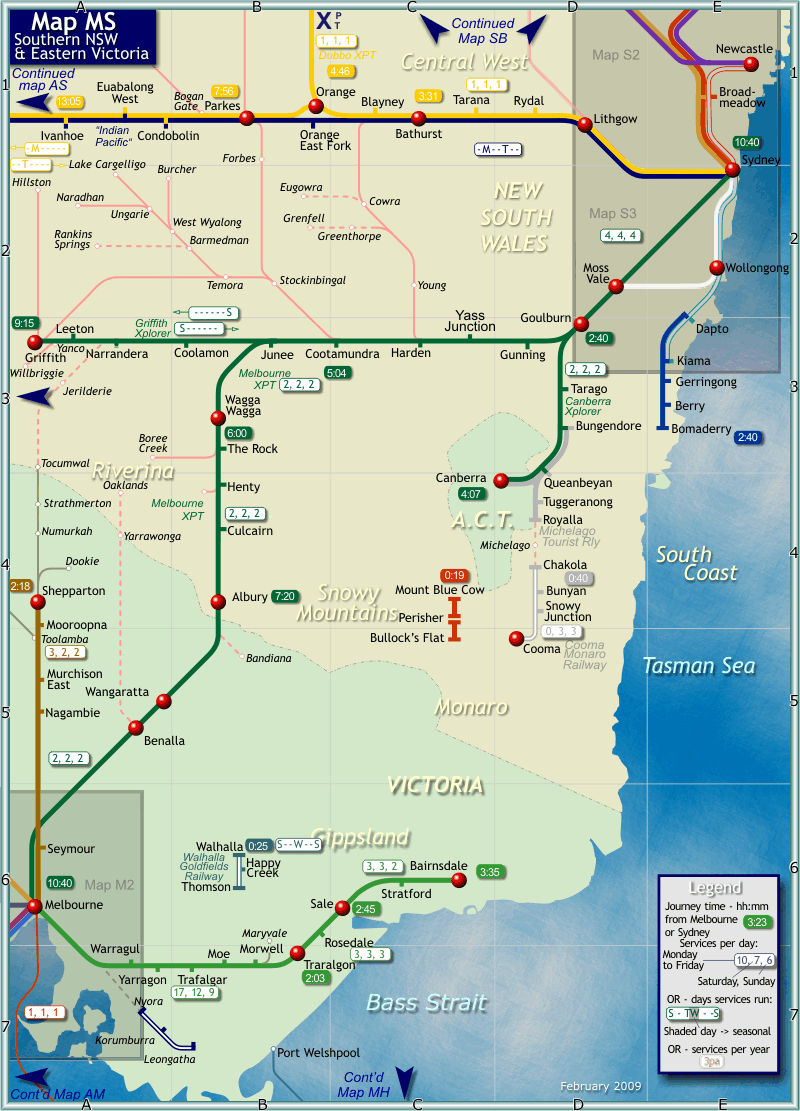 Southern New South Wales Rail Map Southern New South Wales