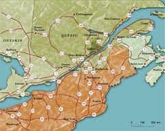 Southern Quebec Tourist Map