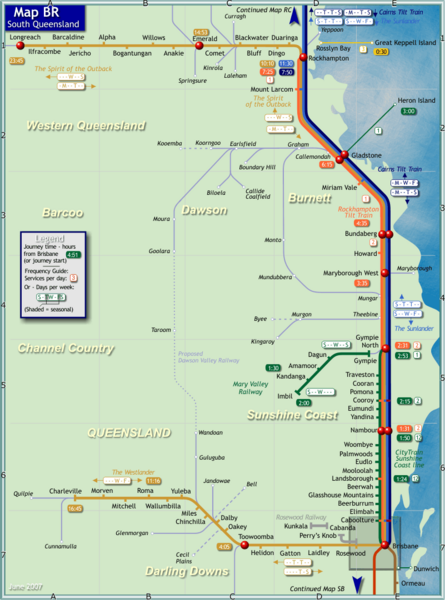Southern Queensland Rail Map