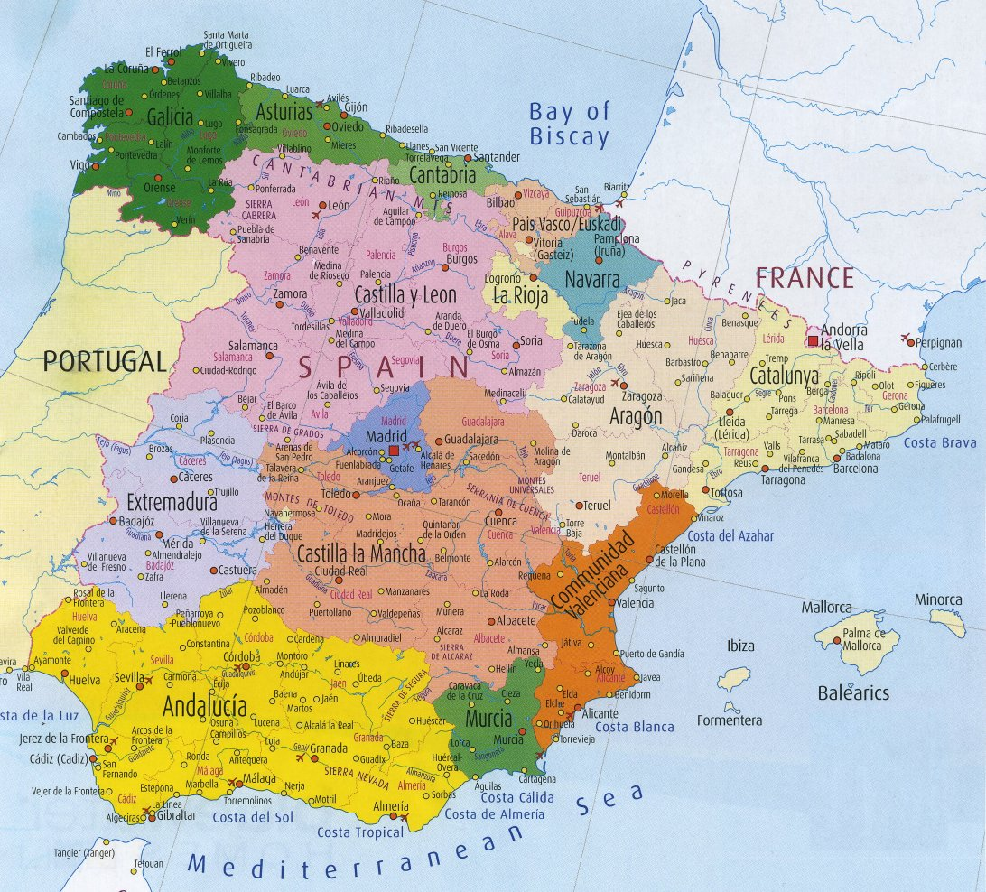 Spain Map Spain mappery