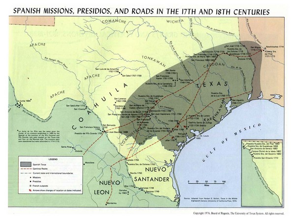 Spanish Missions, Presidios, and Roads in the Historical Texas Map