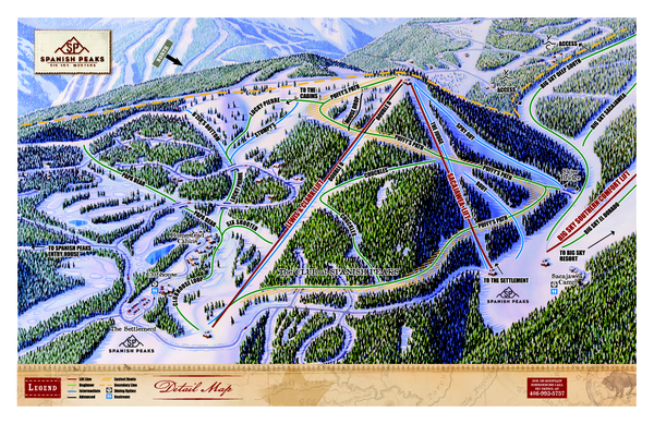 Spanish Peaks Resort Ski Trail Map - Big Sky Montana United States on missoula map, united states map, montana map, big sky resort map, big sky mountain village map, new york map, lost trail powder mountain map, alpe d'huez map, bozeman map, google map, sugarloaf map, utah map,